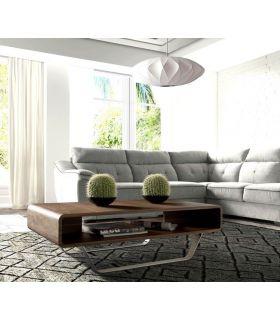 Comprar online Mesa Moderna de Centro en Acero y Nogal : Modelo SALMA