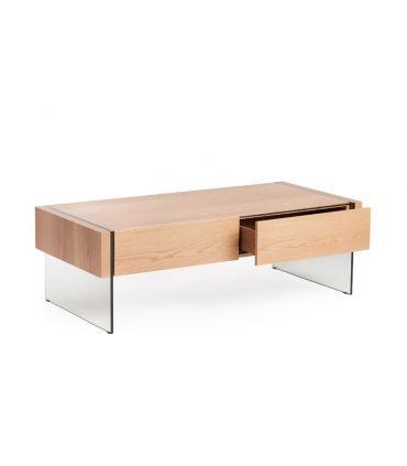 Mesa de Centro moderna de cristal templado y madera : Colección TELMA