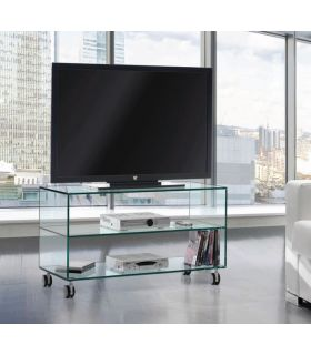 Comprar online Mesa de Televisión de Cristal con ruedas : Modelo KATY 90