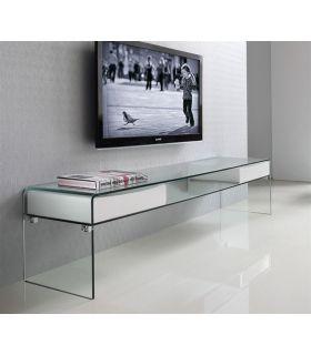 Mesa de Televisión de Cristal templado : Colección BACH Blanco