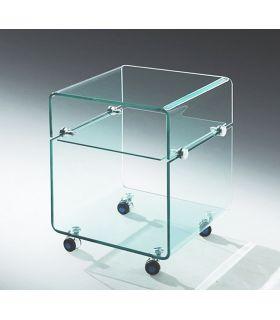 Comprar online Mesa Auxiliar de Cristal con ruedas : Modelo AMSTRONG