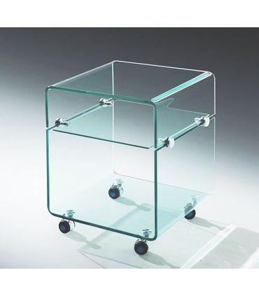 Mesa Auxiliar de Cristal con ruedas : Modelo AMSTRONG