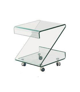 Comprar online Mesa Auxiliar de cristal transparente curvado : Modelo BETHANIA