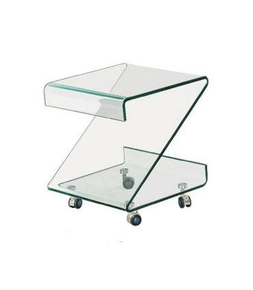 Mesa Auxiliar de cristal transparente curvado : Modelo BETHANIA