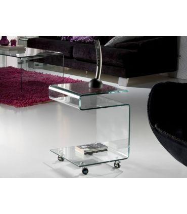 Mesa Auxiliar de cristal transparente : Colección GLASS