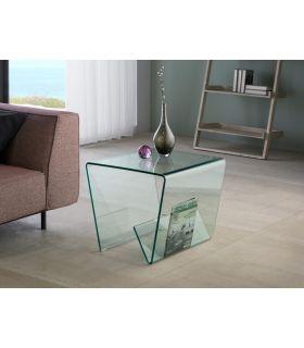 Mesa Auxiliar de Cristal con Revistero Inferior : Modelo GLASS III