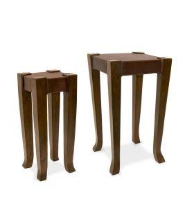 Comprar online Set de 2 mesitas auxiliares de madera y cuero SERNA