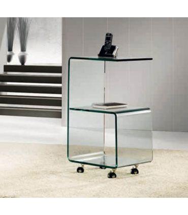 Mesita Auxiliar de Cristal con ruedas : Modelo KR06