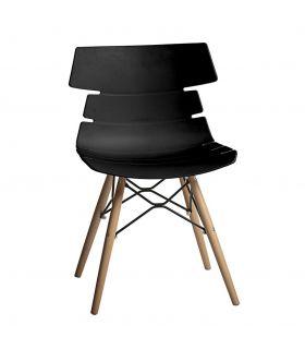 Comprar online Set de 4 Sillas en Madera de Haya y PVC : Modelo IRIS Negro