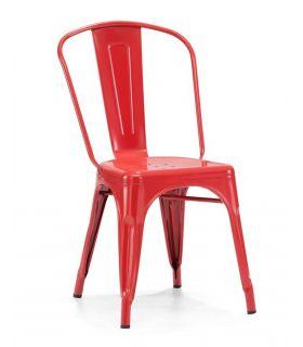 Comprar online Set de 4 Sillas de Estilo Industrial : Modelo TOLT Roja