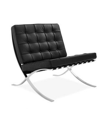 Butaca de Diseño en Piel de Gran Calidad : Modelo BARCELONA negro
