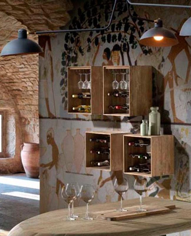 Botelleros en caja de madera modelo HOME