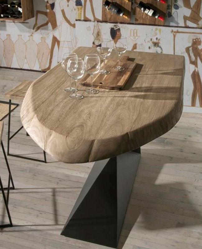 Mesa alta de bar en madera y metal modelo cobra