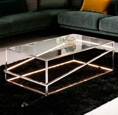 Mesa de centro en acero con luz Led colección Moonlight Cromo