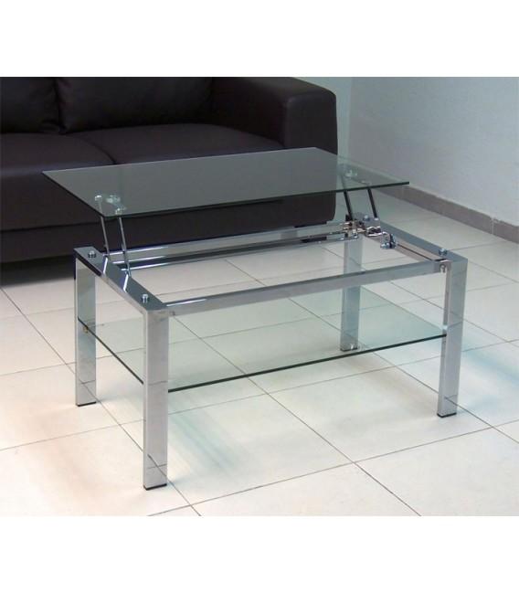Mesa elevable de acero y cristal
